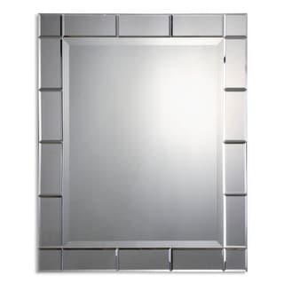 "33"" Contemporary Frameless Rectangular Beveled Wall Mirror"