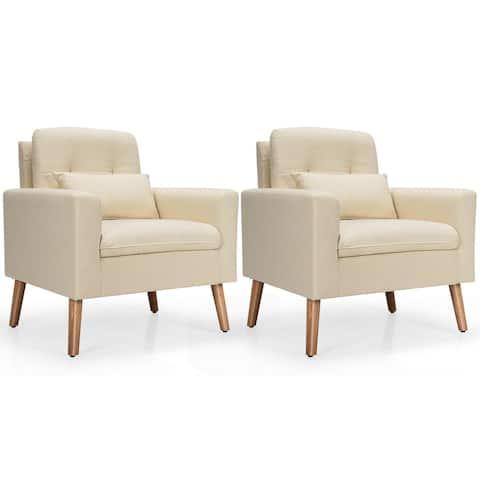 Gymax 2PCS Accent Armchair Single Sofa Chair Home Office w/ Waist - 30'' x 30'' x 34''