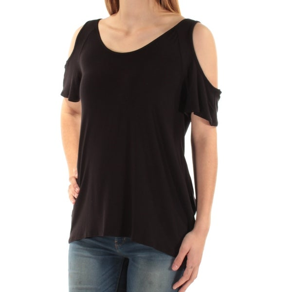 KUT Womens Black Cut Out Low Back Short Sleeve Scoop Neck Top Size: S