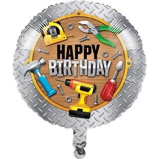 Club Pack of 10 Brown and Yellow Decorative Handyman Metallic Balloon 8
