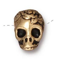TierraCast 22K Gold Plated Pewter Skull With Roses Side Drill Spacer Bead 10mm (1)