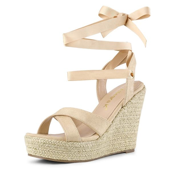 wedge special discount lace up wedge espadrilles ivory white sale espadrilles lace-up sandals EU40  US 9 wedge espadrilles