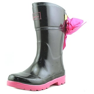 Joules Junior Bow Welly Youth Round Toe Synthetic Black Rain Boot