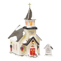 Department 56 Snow Village Holy Family Church Light House, 10.63 inch (Set of 2)