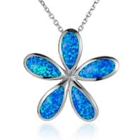 "Sterling Silver Plumeria Pendant with Opal Inlay 18"" Necklace"