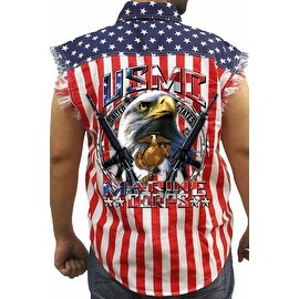 Men's Biker USA Flag Sleeveless Denim Shirt USMC Marine Corps Bald Eagle Vet