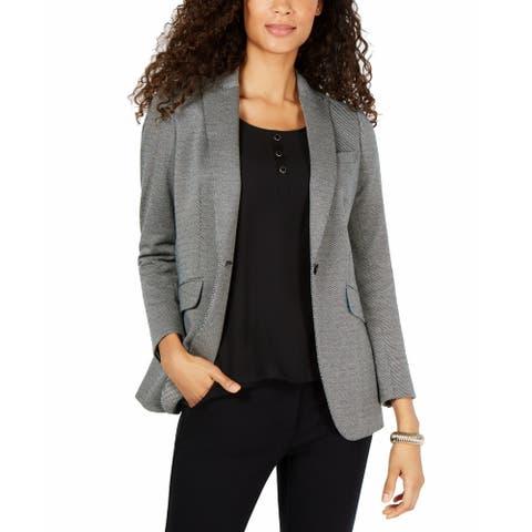 Anne Klein Women's Jacket Black Size 4 Houndstooth Peak-Collar Blazer