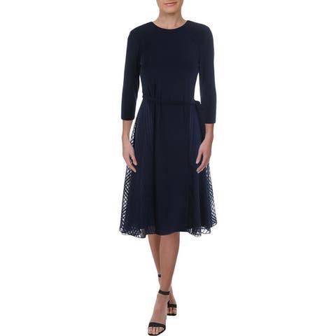 Lauren Ralph Lauren Womens Petites Jadel Wear to Work Dress Belted Midi - Navy