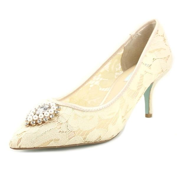 Betsey Johnson Karin Women Pointed Toe Canvas Ivory Heels