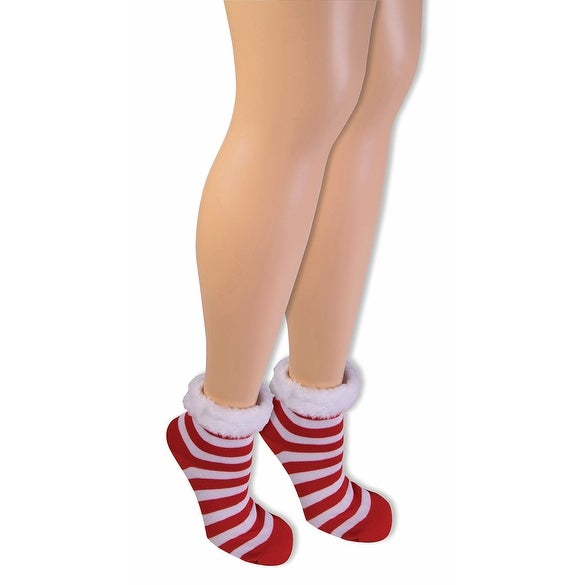 Candy Cane Christmas Socks With Faux Fur - Red