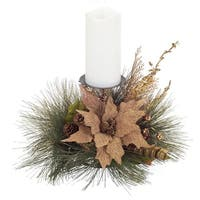 "19"" Burlap Poinsettia, Pine Cone and Golden Berry Decorative Artificial Christmas Candle Holder"