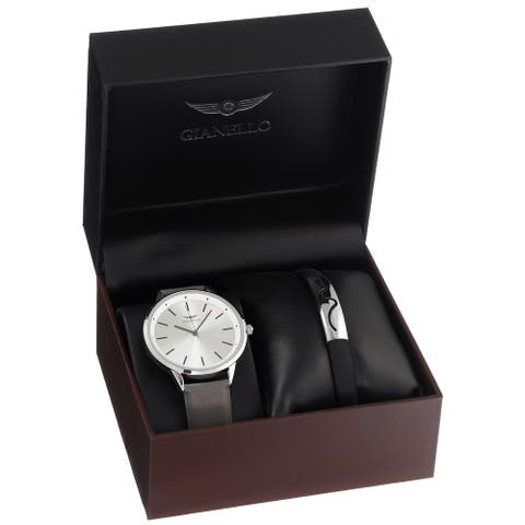 Gianello Mens Strap Watch and Bracelet Set