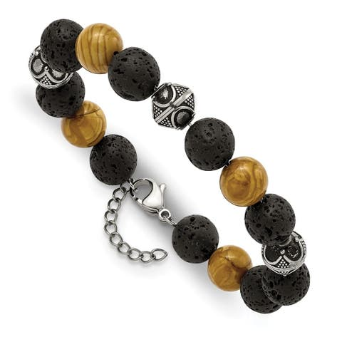 Chisel Stainless Steel Antiqued 9.5-10mm Lava and Red Wood Stone with 1 Inch Extension Bracelet