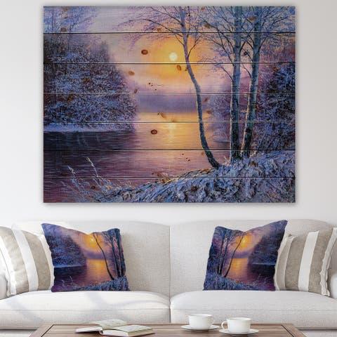Designart 'Warm Sunshine Reflection Over Winter Forest River II' Farmhouse Print on Natural Pine Wood