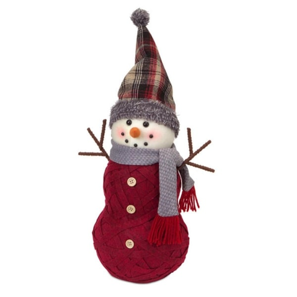 "18.5"" Woven Style Burgundy Snowman with Plaid Hat Christmas Tabletop Decorations - RED"