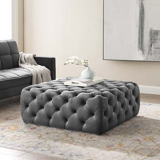 Link to Carson Carrington Ullervad Button Tufted Large Square Velvet Ottoman Similar Items in Ottomans & Storage Ottomans
