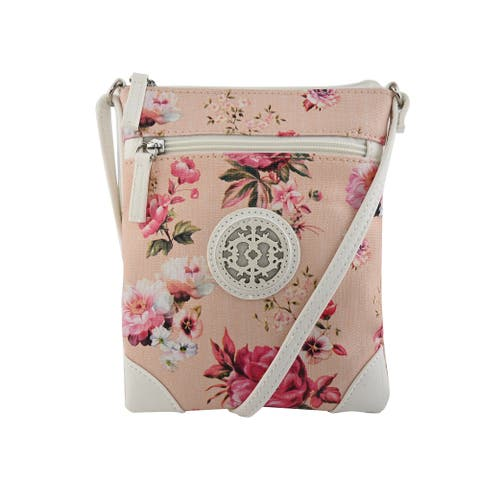 Le Chateau Handcrafted Flower Faux Leather Pebbled Crossbody Bag