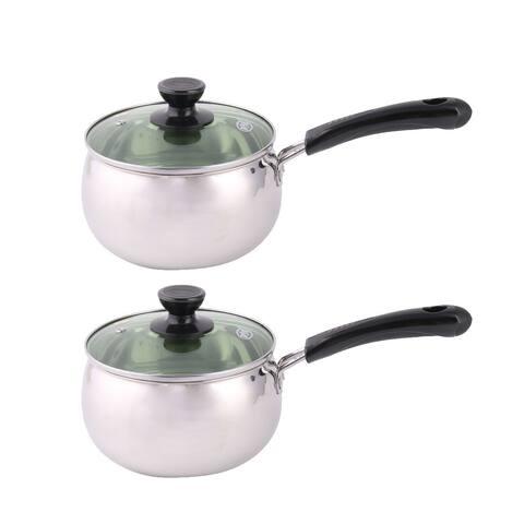 Household Kitchen Plastic Handle Milk Porrige Soup Noodles Cooking Pot Pan 2 Pcs