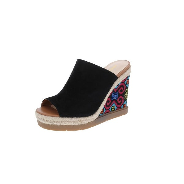 Nine West Womens Vip Wedge Sandals Open Toe Embroidered
