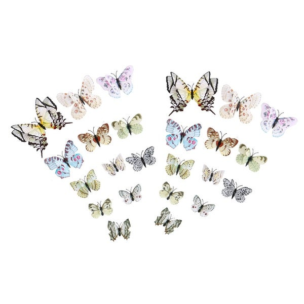 3D Butterfly Sticker Pin Type Home Bedroom Decoration with Double Wing - White