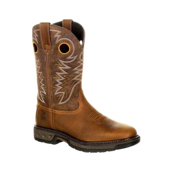 Georgia Boots Work Mens Durable Square Carbo-Tec Rubber Brown