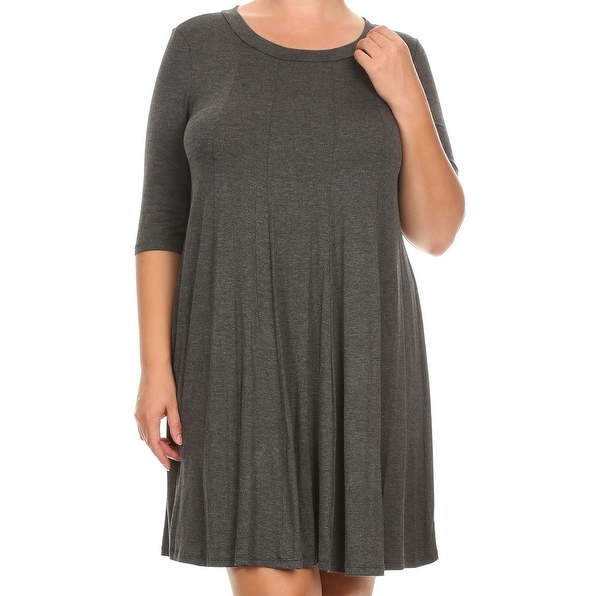 Shop Women Plus Size Solid Short Sleeve Pleat Relax Casual Knit
