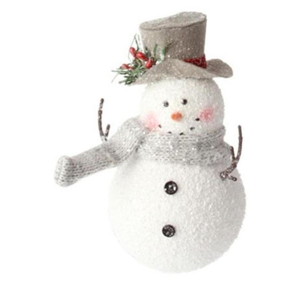 "5.5"" Country Cabin Glitter Frosted Snowman with Top Hat Christmas Ornament"