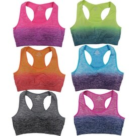 Women's 6 Pack Seamless Dip Dye Ombre Padded Athletic Sports Yoga Bras