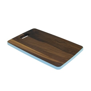 "18"" Large Handcrafted Walnut Wood Cutting Board with Light Blue Trim"