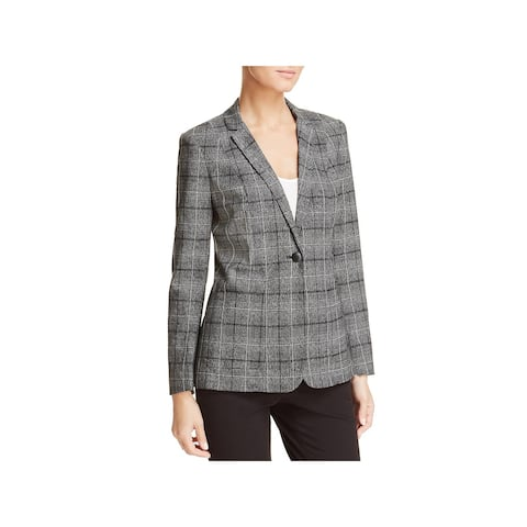 T Tahari Womens One-Button Blazer Window Pane Business