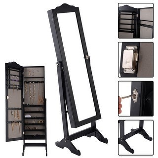 Costway Lockable Mirrored Jewelry Cabinet Armoire Mirror Organizer Storage Box w/ Stand