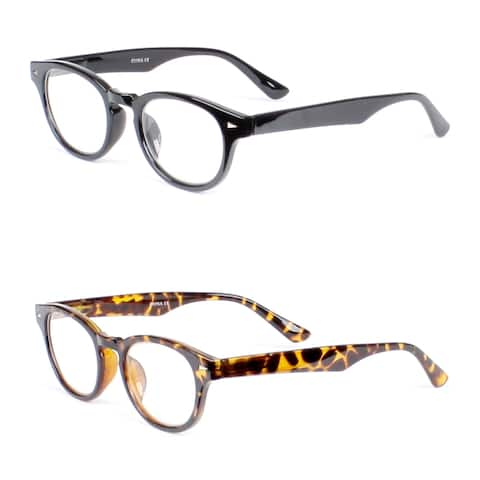 Retro Oval Reading Glasses- 2 Pair Pack - Black/Tortoise