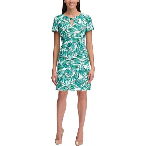 Tommy Hilfiger Womens Casual Dress Printed Keyhole - Green/White