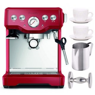 Breville BES840CBXL Infuser Espresso Machine (Red) w/ Frothing Pitcher & Bundle