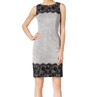 Calvin Klein NEW Gray Faux-Suede Lace Trim Women's Size 6 Sheath Dress