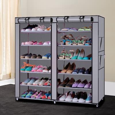 6-Row 2-Line Non-woven Fabric Shoe Rack