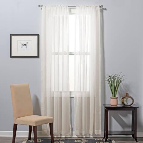 Solid Color Basic Sheer Curtain Set Of Two Panels, Rod Pocket