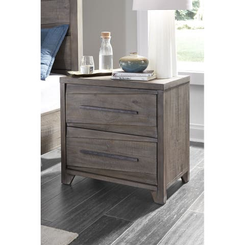 Hearst Solid Wood Two Drawer Nightstand in Sahara Tan