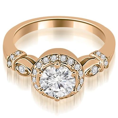 0.70 cttw. 14K Rose Gold Antique Round Cut Diamond Engagement Ring