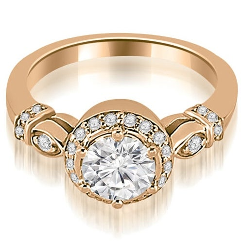1.20 cttw. 14K Rose Gold Antique Round Cut Diamond Engagement Ring