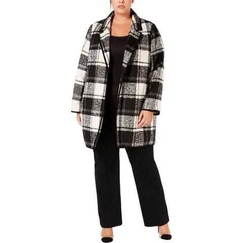 Calvin Klein Womens Plus Midi Coat Window Pane Open Front - Black/White - 2X
