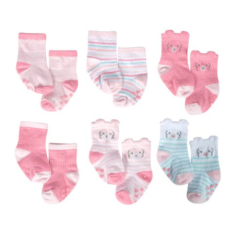 Just Born Baby Girls' 6-Pack Lil' Llama Wiggle Proof Socks - Pink/White