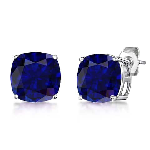 Sapphire Sterling Silver Cushion Stud Earrings by Orchid Jewelry