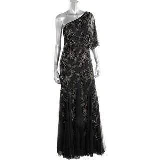 Adrianna Papell Womens Evening Dress One Shoulder Beaded