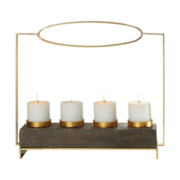 "19.5"" Amrit Gold Color Resin Candleholder - N/A"