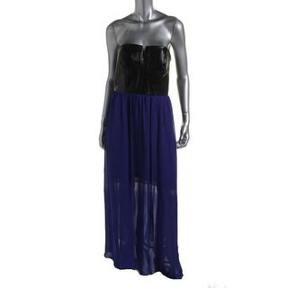 Hailey Adrianna Papell Womens Faux Leather Strapless Maxi Dress - 6