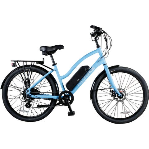 FreeForce The Avalon 16-in. Electric Beach Cruiser Bike with Thumb Throttle and Pedal Assist in Light Blue - 16-inch