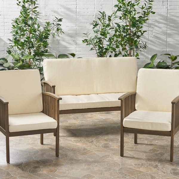 Coesse Outdoor Water Resistant Fabric Loveseat and Club Chair Cushions by Christopher Knight Home. Opens flyout.