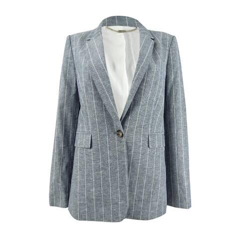DKNY Women's Pinstripe One-Button Blazer (6, Twilight)