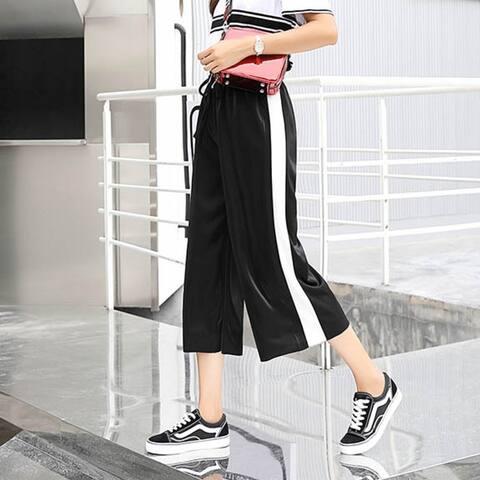 Ice Silk Wide Leg Pants Loose Slacks Chic Korean Pants